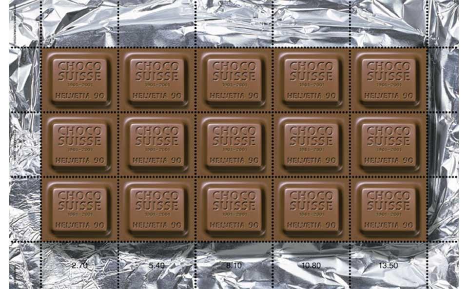 Duftender Briefmarken-Kleinbogen aus der Schweiz für Schokoholics