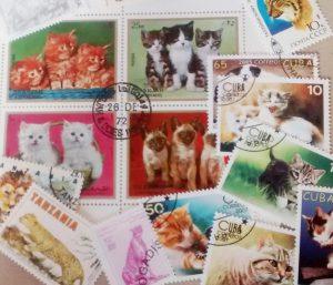 Katzen auf Briefmarken aus aller Welt