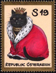 Die Briefmarke Katzenkönig von Manfred Deix