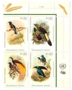 UN Briefmarke Paradiesvogel