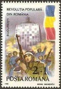 Briefmarke zum ersten Jahrestag der Revolution in Rumänien