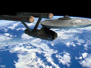Raumschiff Enterprise auf dem Weg zu neuen Galaxien, die nie zuvor ein Mensch gesehen hat ...