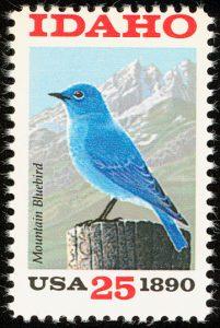 Mountain Bluebird auf Briefmarke