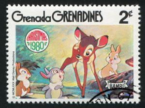 Tierbabys: Bambi auf Briefmarke