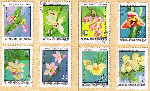 Orchideen Briefmarken Vietnam Serie