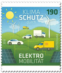 Elektromobilität auf deutscher Briefmarke