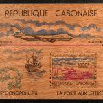 Briefmarke aus Holz Gabun