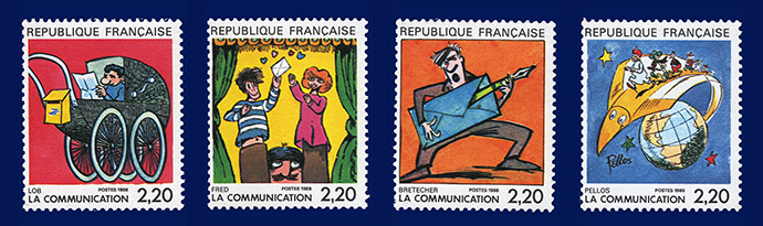 Comic Briefmarken Lob Fred Bretecher Pellos