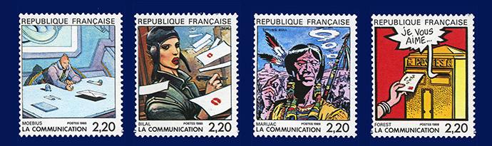 Die Comic Briefmarken von Moebius, Bilal, Marijac und Forest