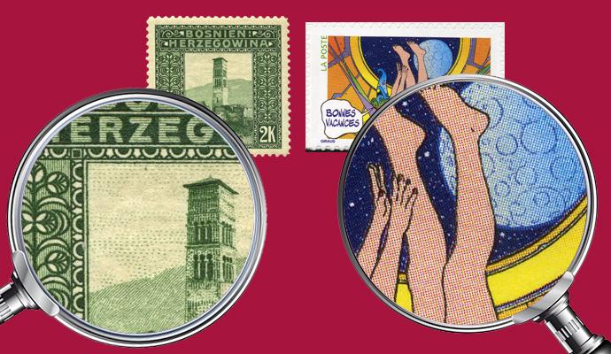 Links: Tiefdruck Marke von 1906 in der Vergrößerung | Rechts: Offset-Marke von 2006 in der Vergrößerung (© Godov Sander)