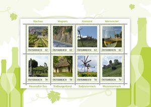 exklusive Wein-Briefmarken aus Österreich