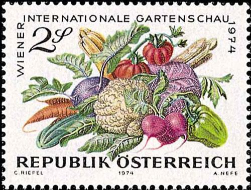 Gemüse Briefmarke Österreich