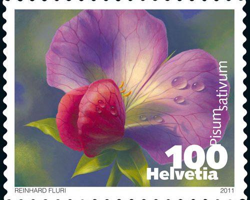 Gemüse Briefmarke Schweiz Erbse