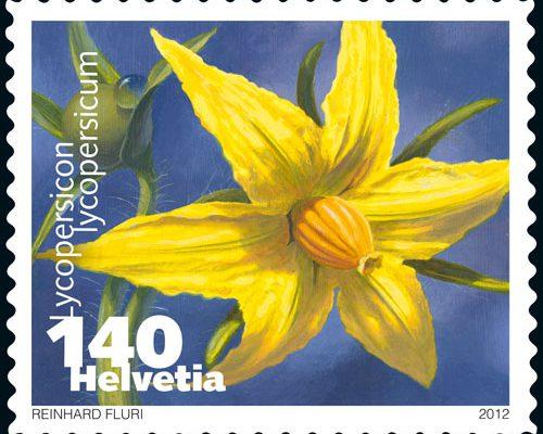 Gemüse Briefmarke Schweiz Tomate