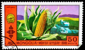 Briefmarke Mongolei Mais