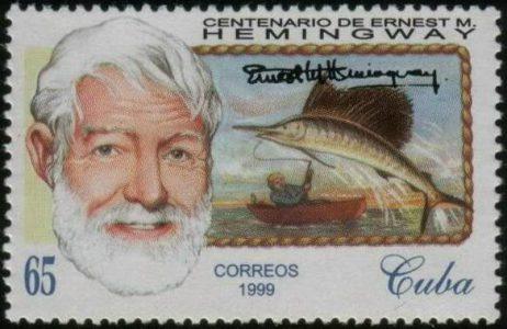 Der Literaturnobelpreisträger Ernest Hemingway auf kubanischer Briefmarke (© www.stampboards.com)