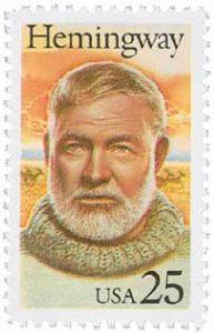 Ernest Hemingway auf US-amerikanischer Briefmarke (© www.mysticstamp.com)