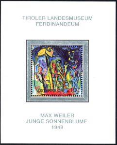 """,Junge Sonnenblume"""", Max Weiler, 1949 Briefmarke für das Tiroler Landesmuseum Joanneum"""