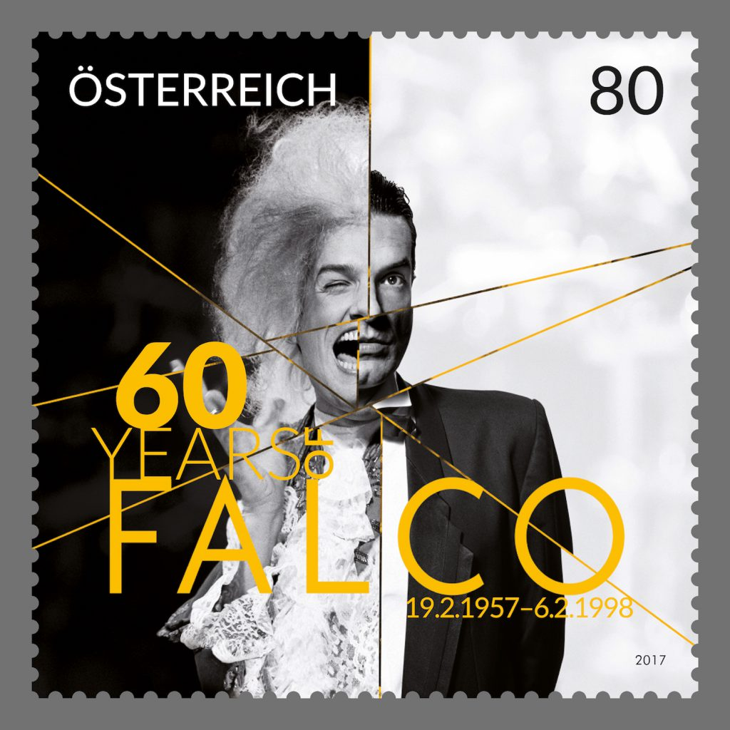 Falco - das musikalische Aushängeschild Österreichs - erreichte als erster deutschsprachiger Popmusiker die Spitze der US-Charts. (© Österreichische Post)