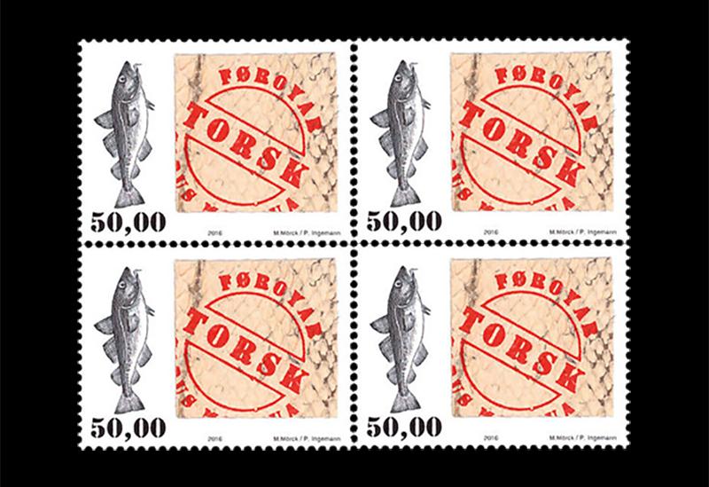 Fisch am Teller ist nichts Neues, doch Fisch auf Briefmarken - das ist originell! Diese philatelistische Neuheit stammt von den Färöer Inseln. (© Färöer Post)