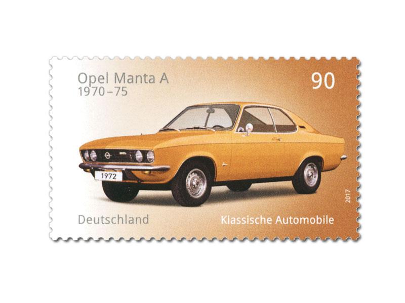 """Mit dem Opel Manta A brachte Opel 1970 einen europäischen """"Pony Car"""" mit langer Schnauze, kurzem Heck und nicht ganz so starker Motorisierung wie seine US-amerikanischen Pendants auf den Markt. (© Deutsche Post)"""