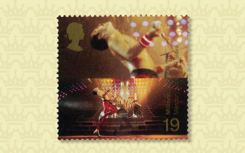 Freddie Mercury, Leadsänger von Queen, als Briefmarken-Ikone. Herausgegeben von der Royal Mail im Jahr 1999.