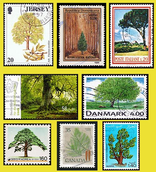 Diverse Briefmarken Baum