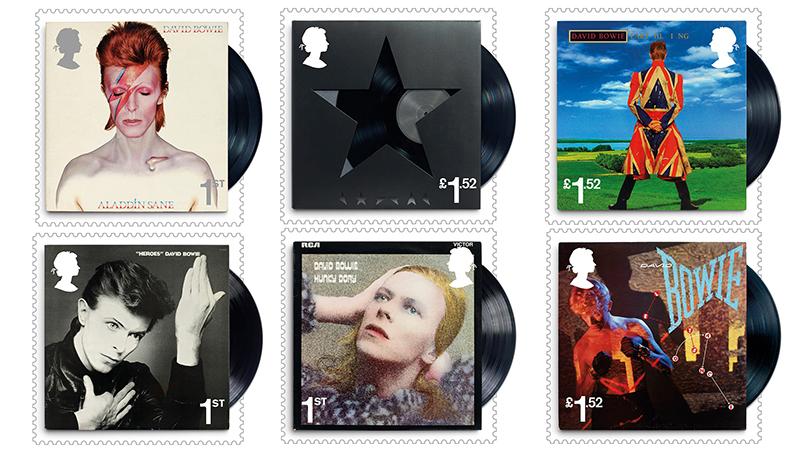 Besonderes Detail der sechs David Bowie Plattencover-Marken: Bei jeder Briefmarke ragt ein kleiner Teil der Vinylplatte aus dem Cover heraus... (© Royal Mail)