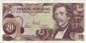 20 Schilling Banknote Carl Ritter von Ghega