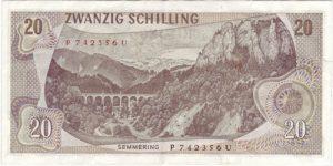 Die Rückseite der Banknote mit der Semmeringbahn