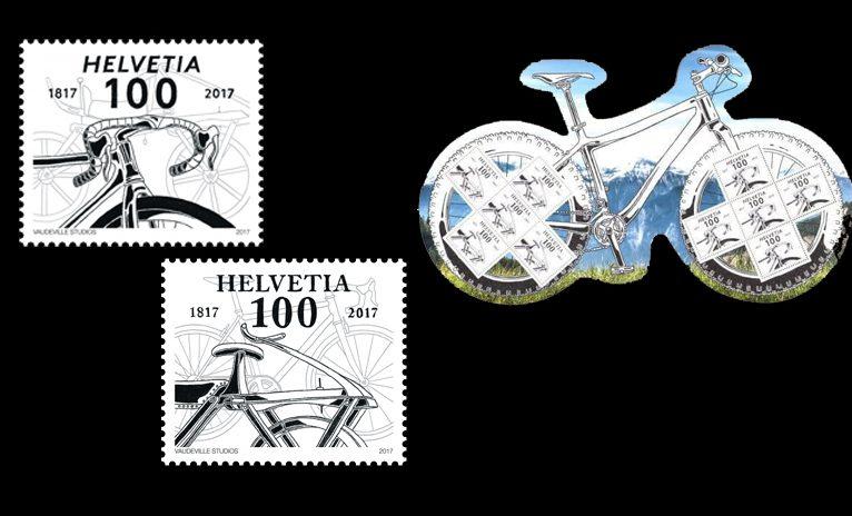 In der Schweiz erfreut sich das Fahrradfahren großer Beliebtheit! Die Velo-Marke vom 2. März 2017 zum 200. Geburtstag des Fahrrades ist der beste Beweis! (© Schweizer Post)