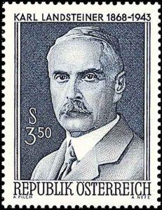 Briefmarke des Nobelpreisträgers Karl Landsteiner, 1968; © Österreichische Post