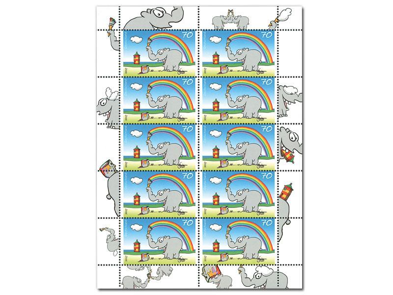 Wer kennt ihn nicht, den lustigen, grauen Ottifant des ostfriesischen Komikers Otto Waalkes? Nun auch auf Briefmarke! (© Deutsche Post)