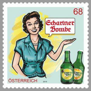 Auch ein Klassiker: die Schartner Bombe; hier auf Briefmarke (2015), © Österreichische Post