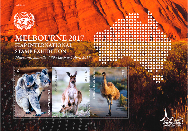 Koalabär, Känguru und Emu zieren diesen Kleinbogen anlässlich der internationalen Briefmarkenausstellung FIAP in Melbourne. (© UNPA)
