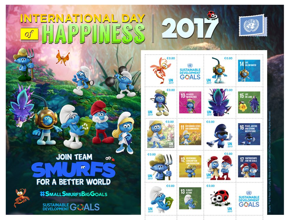 Dieser ist einer der beiden Kleinbogen der UNPA mit 10 Schlümpfe-Marken, der zum Tag des Glücks erscheint – für eine bessere Welt! (© UNPA)