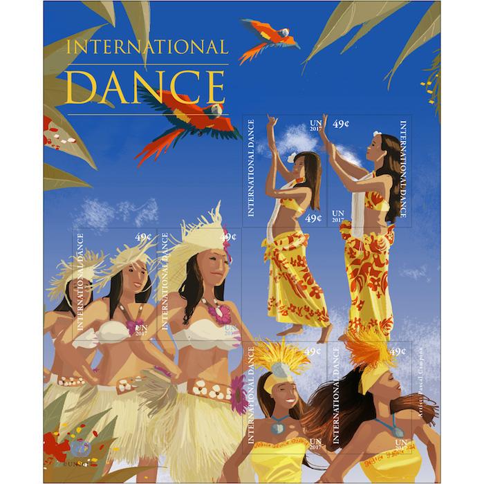 Polynesischer Tanz auf einem Markenbogen – wer da nicht Lust aufs Tanzen (und Briefmarkensammeln) bekommt?! (© UNPA, © Pascal Campion)