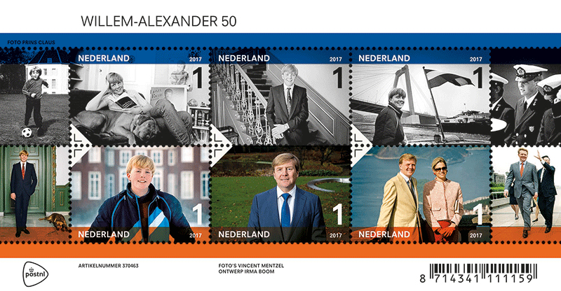 Willem-Alexander Briefmarken-Set (© postnl)