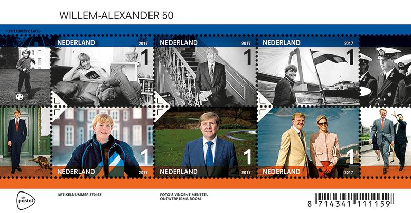 Willem-Alexander Briefmarken-Set (© postnl)