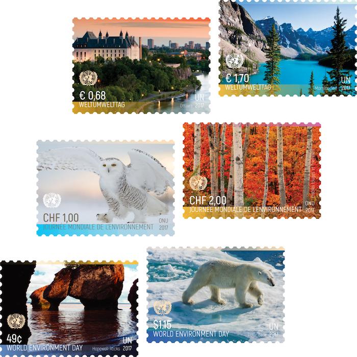 Ob mit Moraine Lake, Schneeeule, Rot-Ahorn, Hopewell Rocks oder Eisbär – auf diesen Briefmarken zum Tag der Umwelt zeigt sich Kanadas Natur von seiner schönsten Seite! (© UNPA)