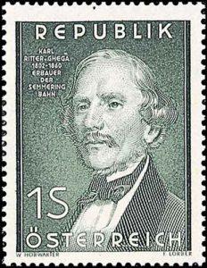 Carl Ritter von Ghega Briefmarke 1952