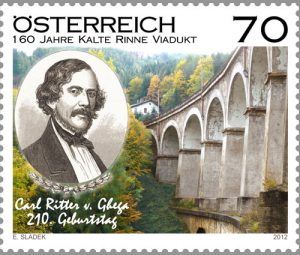 Briefmarke der Semmeringbahn aus 2012 mit dem Viadukt Kalte Rinne