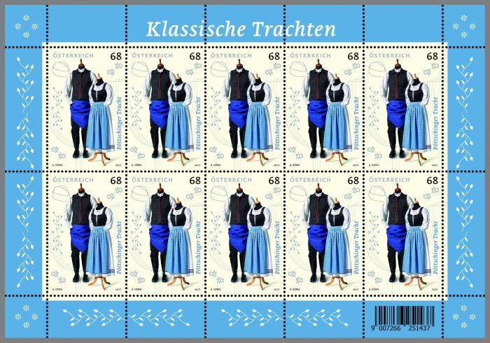 Die fesche Pöttschinger Tracht als Briefmarken-Kleinbogen, © Österreichische Post AG