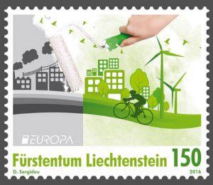 Umweltschutz Briefmarke Liechtenstein