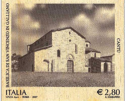 Briefmarke Italien Holz