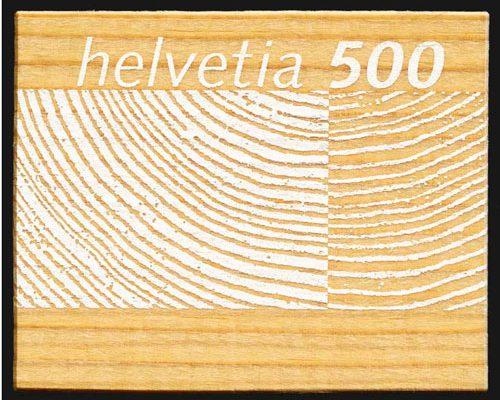 Briefmarke Schweiz Holz