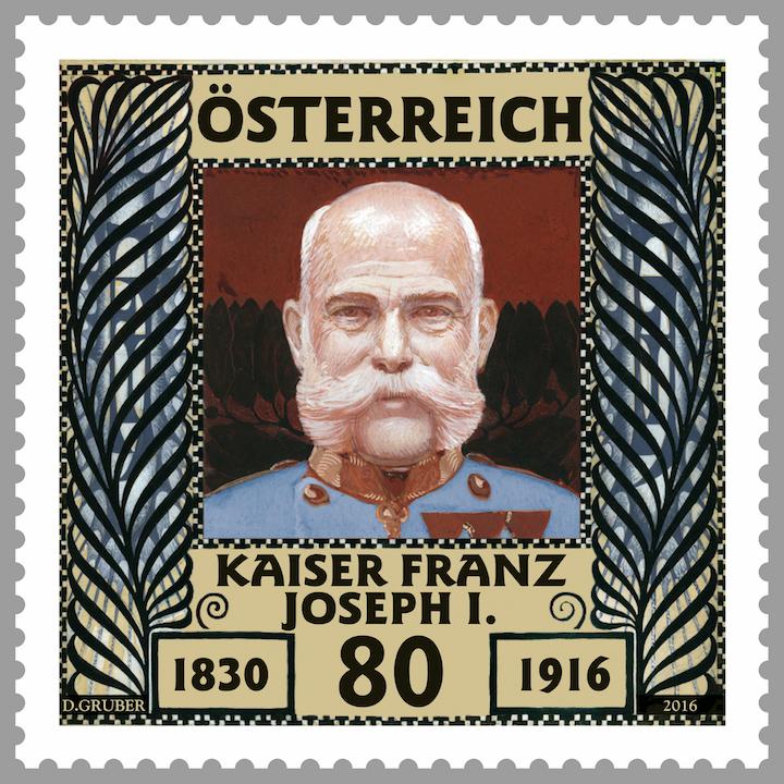 Koloman Moser, berühmtes Gründungsmitglied der Wiener Secession, gestaltete nicht nur die Vorlage für diese Kaiser Franz Joseph Marke, seine künstlerische Auffassung bestimmte fast das gesamte äußere Erscheinungsbild der Post zur damaligen Zeit. (© Österreichische Post)