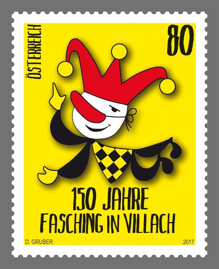 Der kleine Narr mit Narrenkappe - das Symbol für den Villacher Fasching (© Österreichische Post)