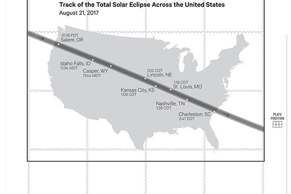 Der 70 Meilen breite Weg der Sonnenfinsternis durchquert die USA diagonal. (© USPS)