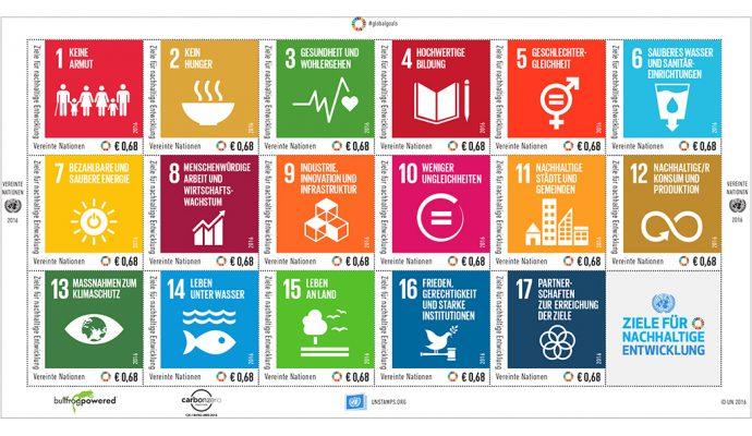 """""""Hochwertige Bildung"""", """"Sauberes Wasser"""", """"Menschenwürdige Arbeit"""" oder """"Frieden, Gerechtigkeit und starke Institutionen"""" sind ebenso unter den Zielen für nachhaltige Entwicklung zu finden. (© UNPA)"""